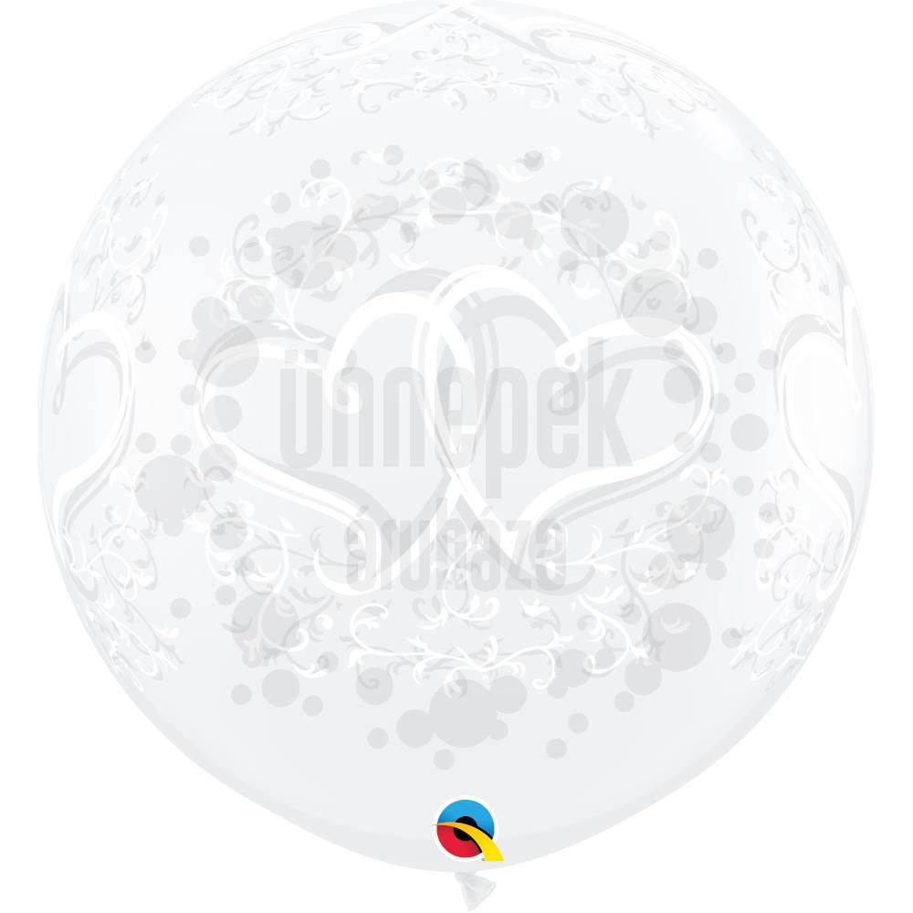 3 feet-es Entwined Hearts Diamond Clear Esküvői Lufi (2 db/csomag)