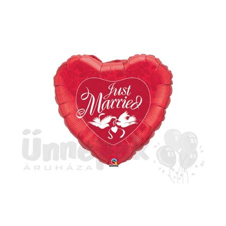 36 inch-es Házasok - Just Married Red és White Esküvői Héliumos Fólia Lufi
