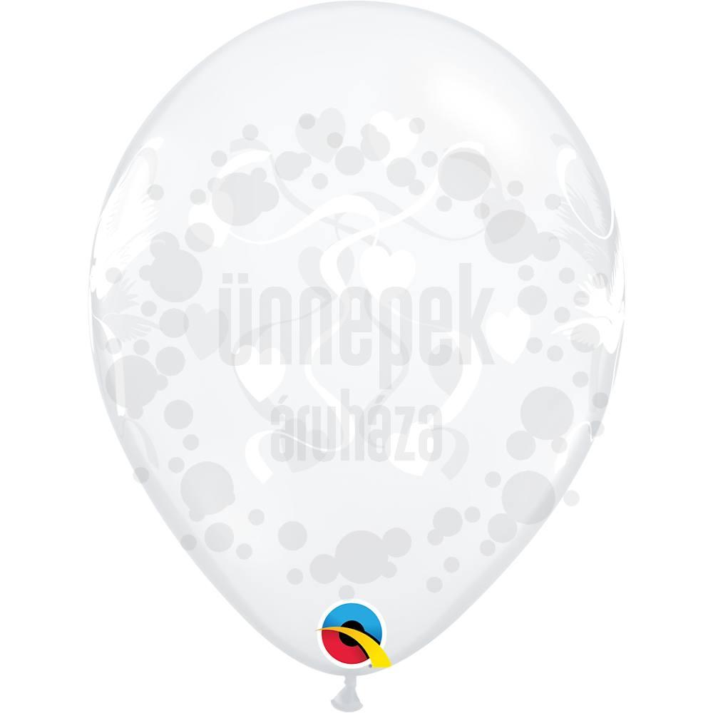 11 inch-es Love Doves Diamond Clear Esküvői Lufi (25 db/csomag)