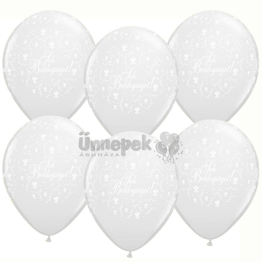 11 inch-es Sok Boldogságot Pearl White Esküvői Lufi (25 db/csomag)