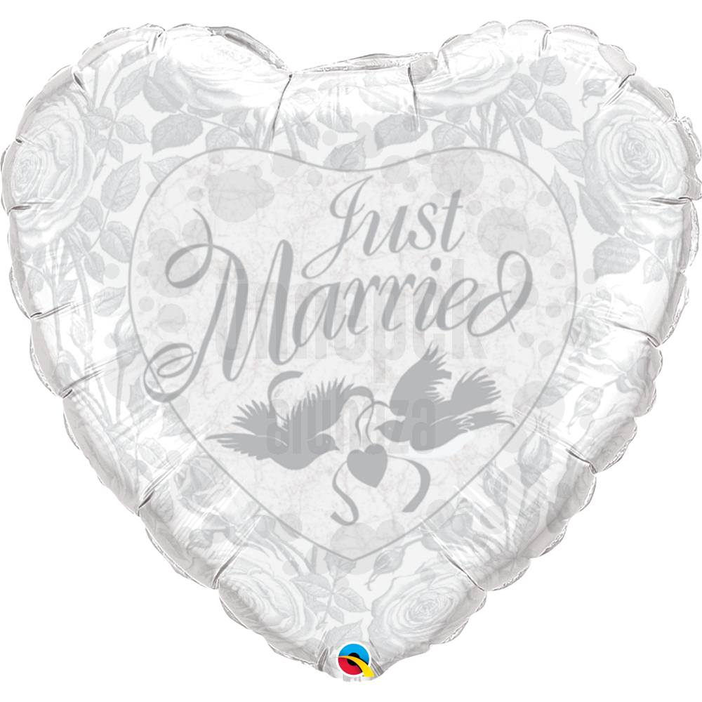 36 inch-es Just Married Pearl White és Silver Esküvői Héliumos Fólia Lufi