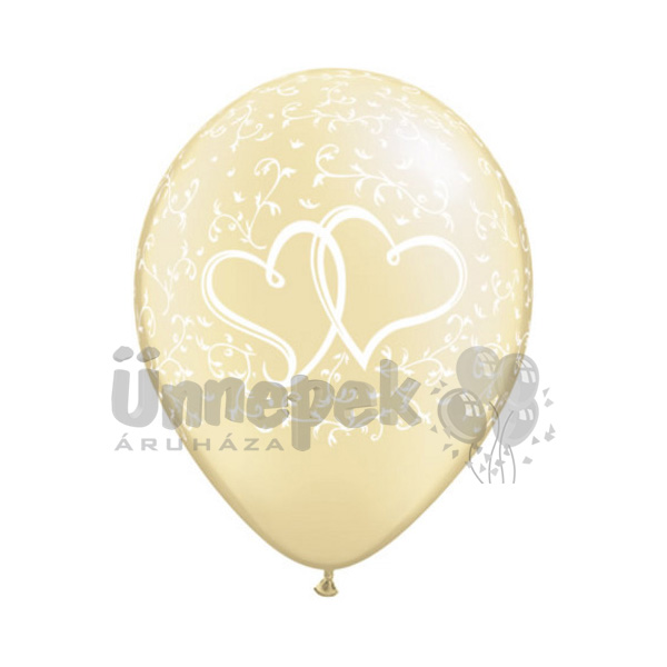 11 inch-es Entwined Hearts Pearl Ivory Lufi (25 db/csomag)