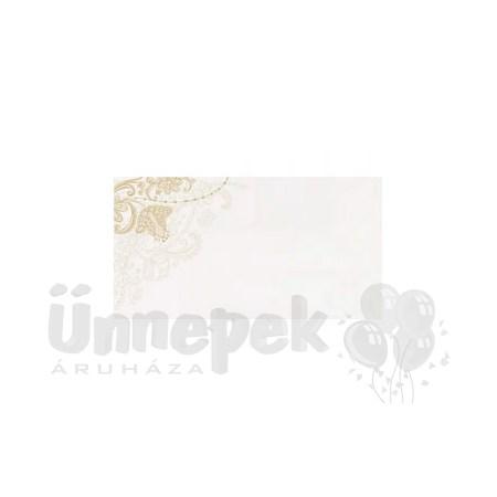 Esküvői Fehér Ültetőkártya Arany Virág Mintával - 25 db-os