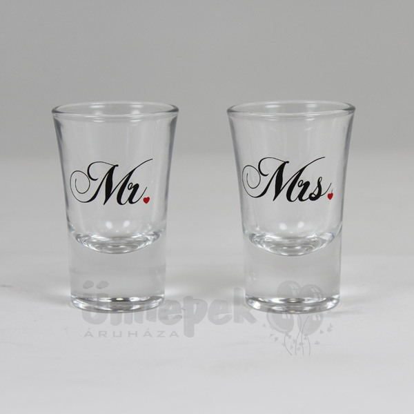Mr. - Mrs. Feliratú Esküvői Feles Pohár Szett - 2 db-os
