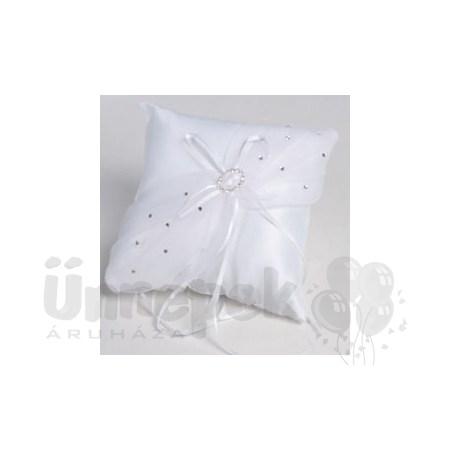 219d3a6ba9 Esküvői Fehér Gyűrűpárna Organzával, Strassz Kövekkel (20 cm x 20 cm)