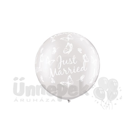30 inch-es Just Married Butterflies-A-Round Pearl White Lufi (2 db/csomag)
