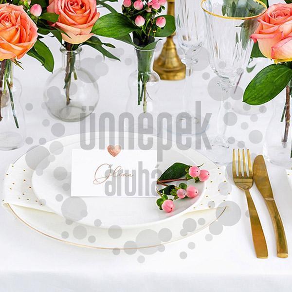 Esküvői Ültetőkártya Rosegold Szív Díszítéssel - 10 db-os