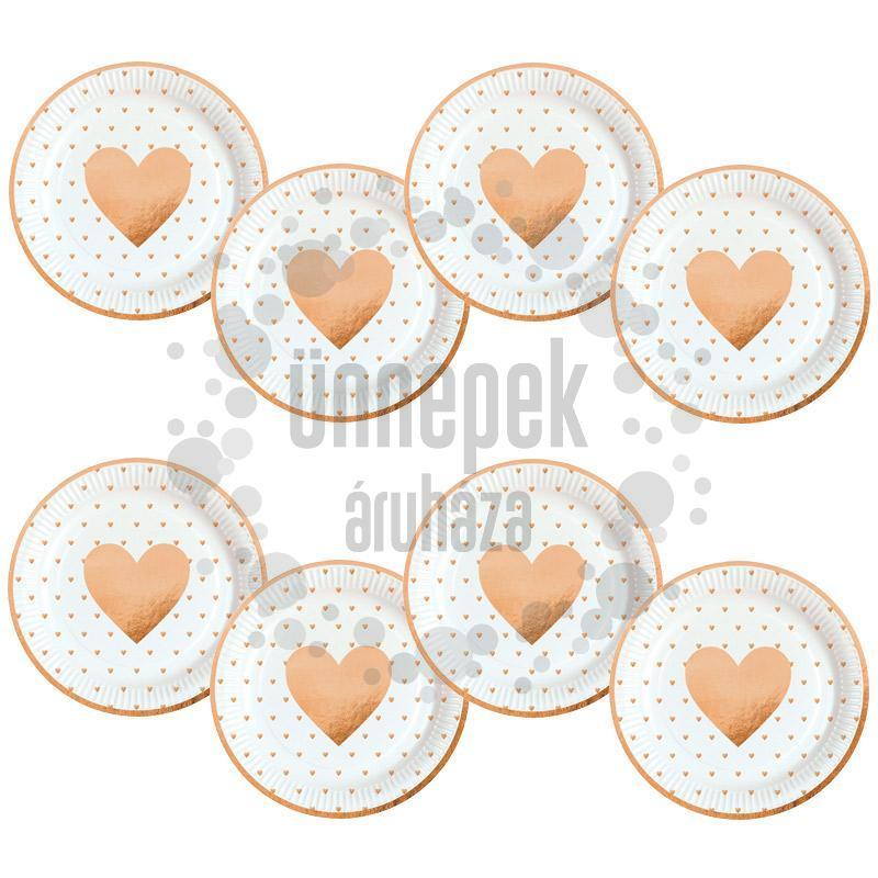 Everyday Love Arany Fehér Szívecske Mintás Parti Tányér - 23 cm, 8 db-os
