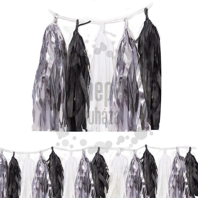 Ezüst-Fekete-Fehér Girland Dekorációs Füzér