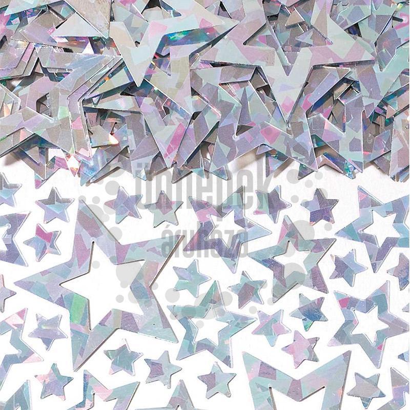 Ezüst Irizáló Fényes Csillag Alakú Fólia Parti Konfetti - 14 gramm