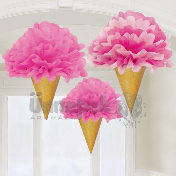 Fagyi Alakú Rózsaszín Bolyhos Függő Dekoráció - 31 cm, 3 db-os