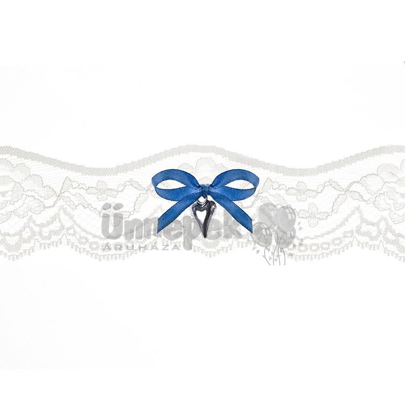Fehér Csipkés Harisnyakötő Szív Dísszel Esküvőre 5bdda34313