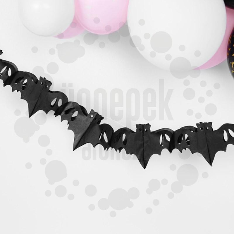 Fekete Denevér Girland Halloweenre - 400 cm