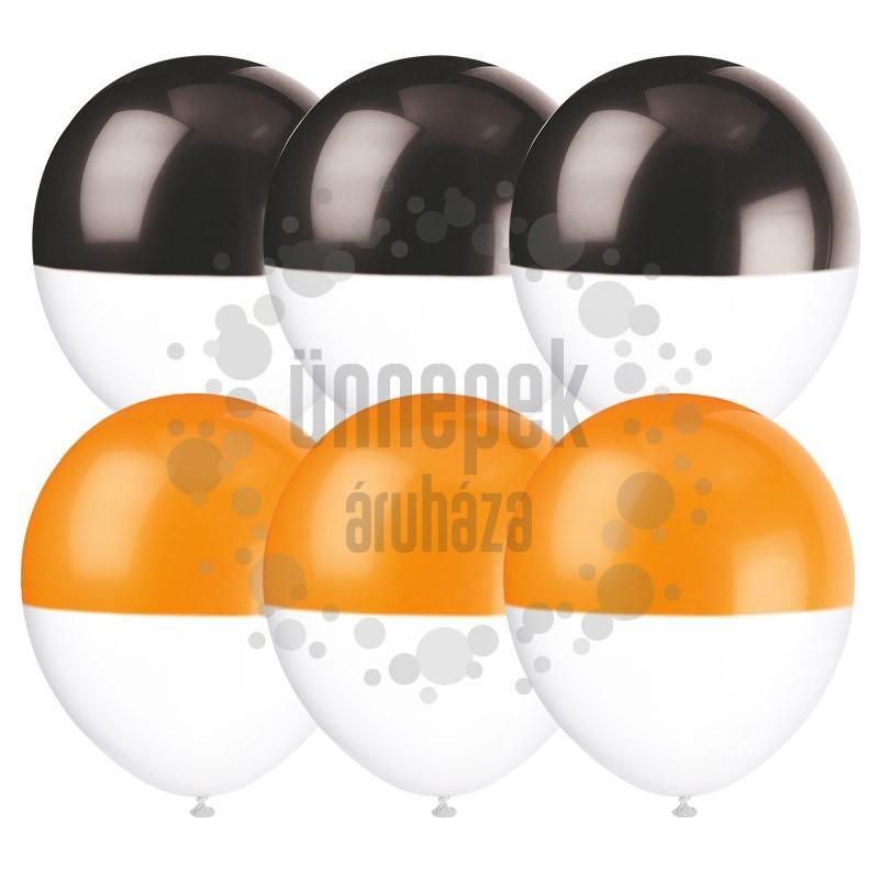 Fekete és Narancssárga Tetejű Fehér Latex Léggömb Halloween-ra - 6 db-os