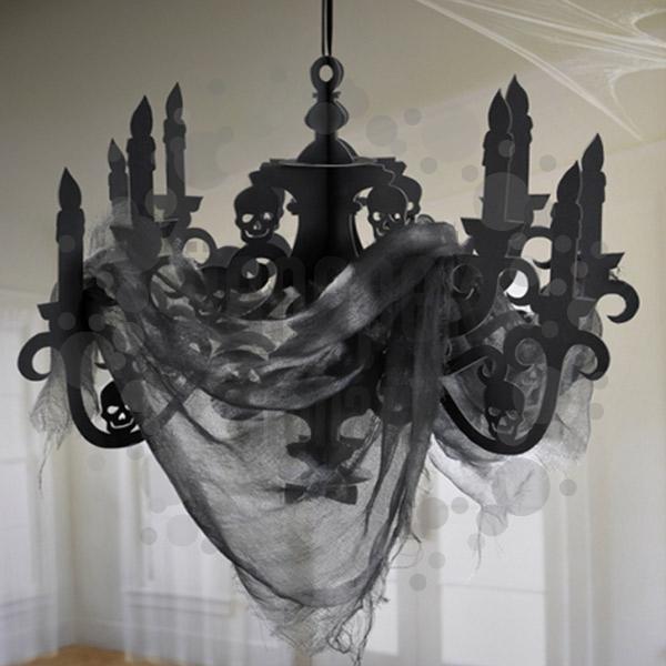 Fekete Koponyás Csillár Dekoráció Halloween-re - 41 cm x 58 cm