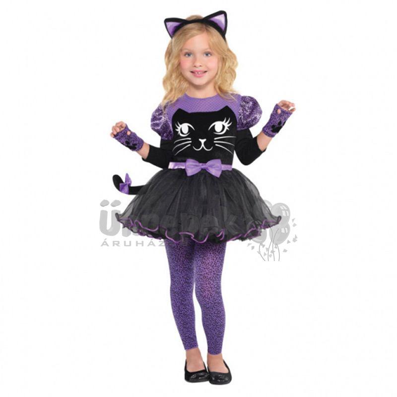 Fekete Lila Cica Kislány Jelmez Halloween-re, 4-6 Éveseknek