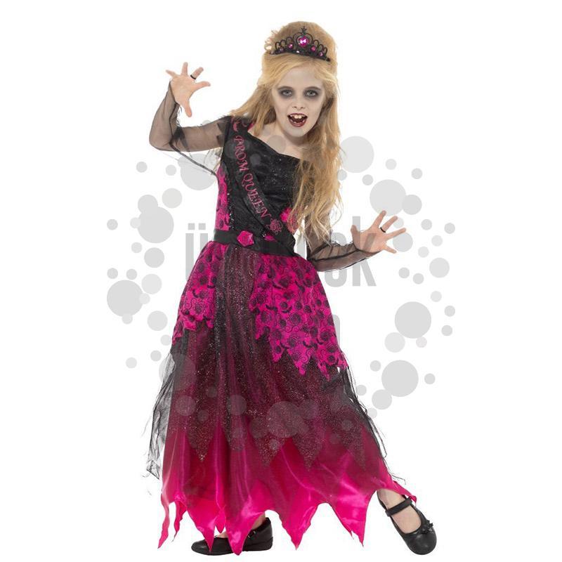 Fekete Rózsaszín Rémisztő Bálkirálynő Jelmez Lányoknak, S-es