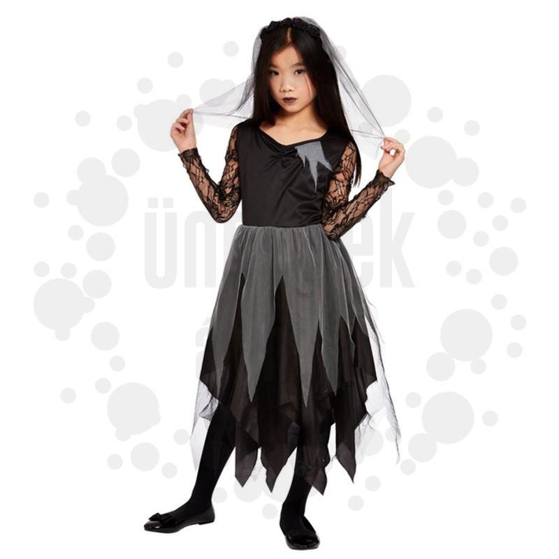 Fekete Temető Menyasszony Kislány Jelmez Halloweenre - L