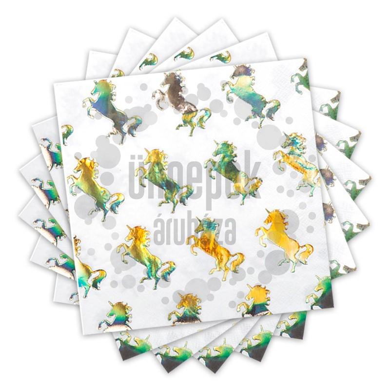 Fényes Unikornis - Egyszarvú Parti Szalvéta - 33 cm x 33 cm, 12 db-os