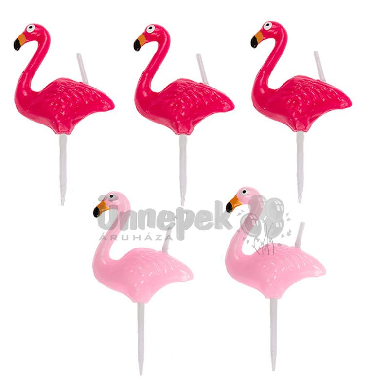 Flamingó Gyertya Szett - 5 db-os