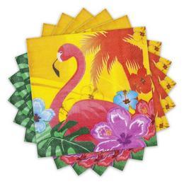 Flamingó Hawaii Mintás Party Szalvéta - 33 cm x 33 cm, 12 db-os