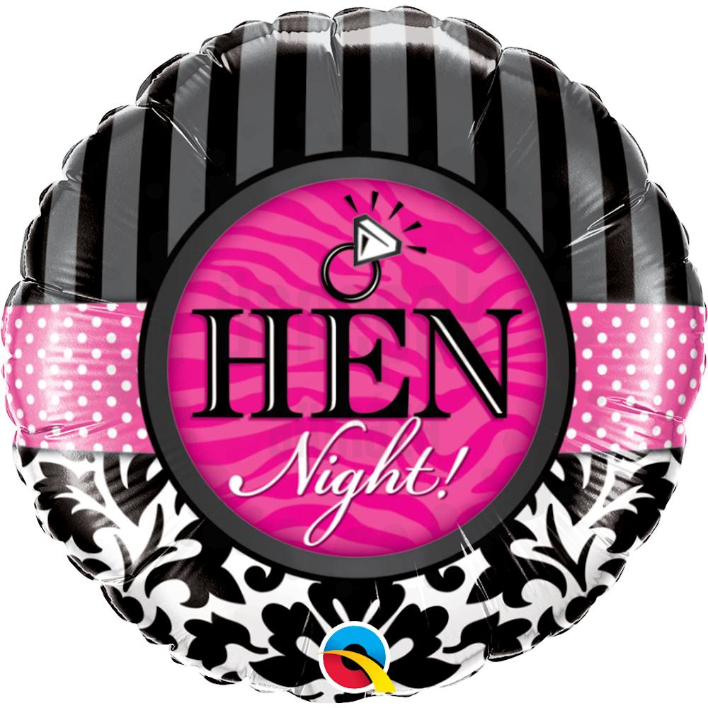 18 inch-es Hen Night! Damask & Stripes Héliumos Fólia Lufi Lánybúcsúra