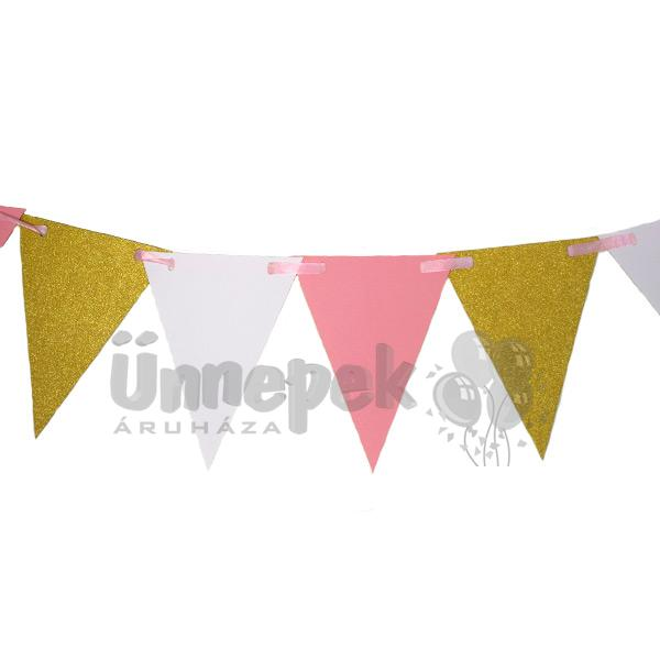 Csillogó Arany - Fehér - Pink Elegáns Zászlófüzér - 3 m