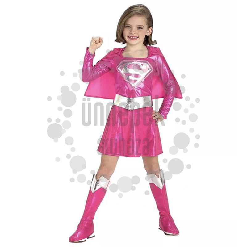Rózsaszín Supergirl Farsangi Jelmez Kislányoknak, M-es