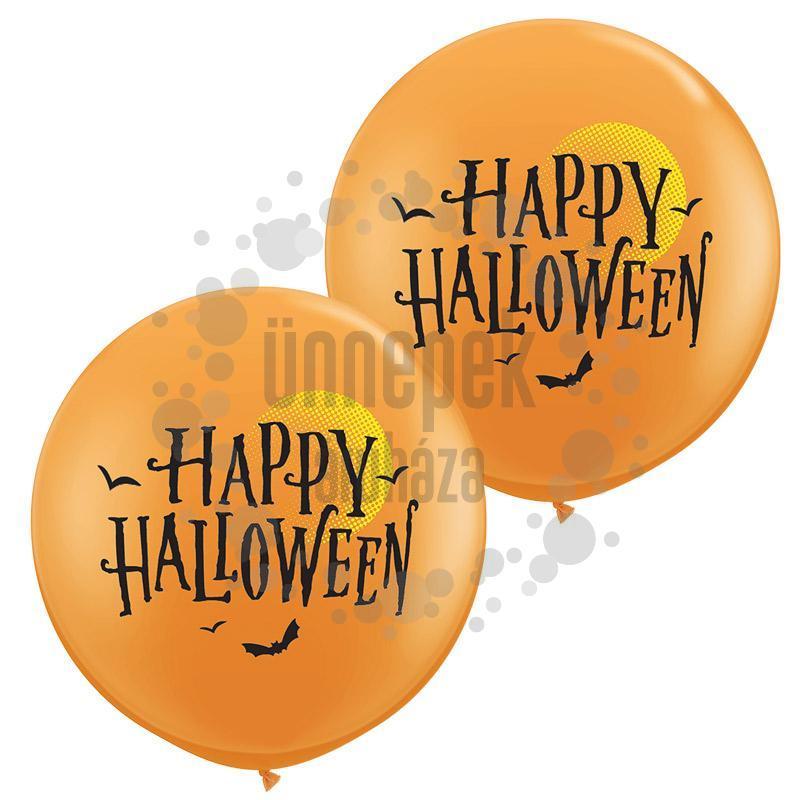 3 feet-es Hold és Denevérek - Halloween Moon and Bats Orange Lufi (2 db/csom)
