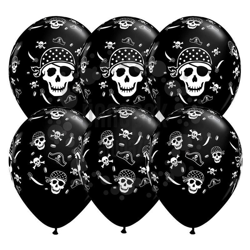 11 inch-es Pirate Skull Koponyás Kalózos Onyx Black Lufi (25 db/csomag)