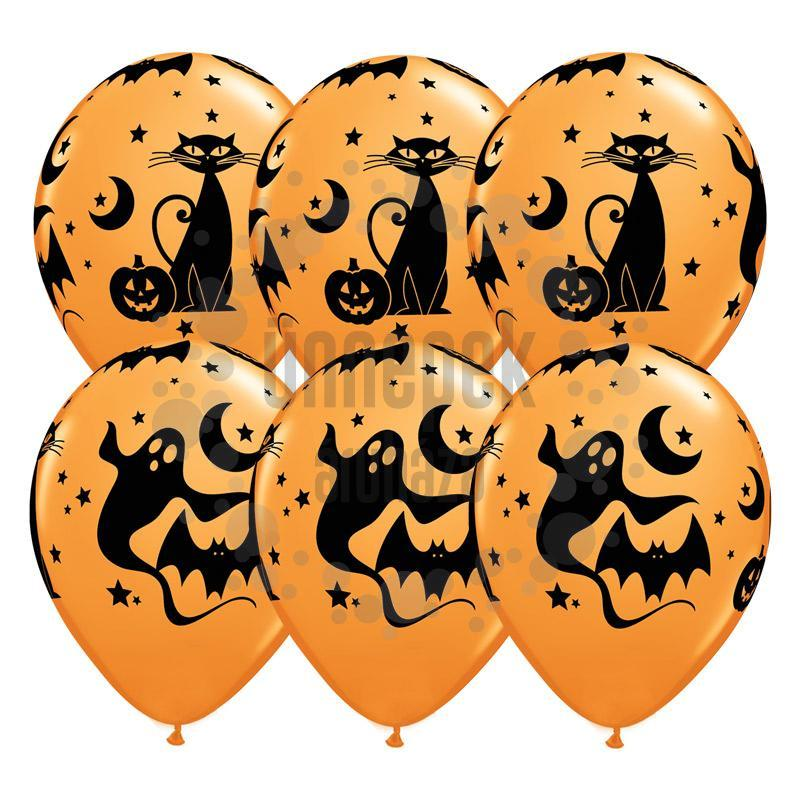 11 inch-es Fun and Spooky Icons - Halloween Mintás Lufi (25 db/csomag)