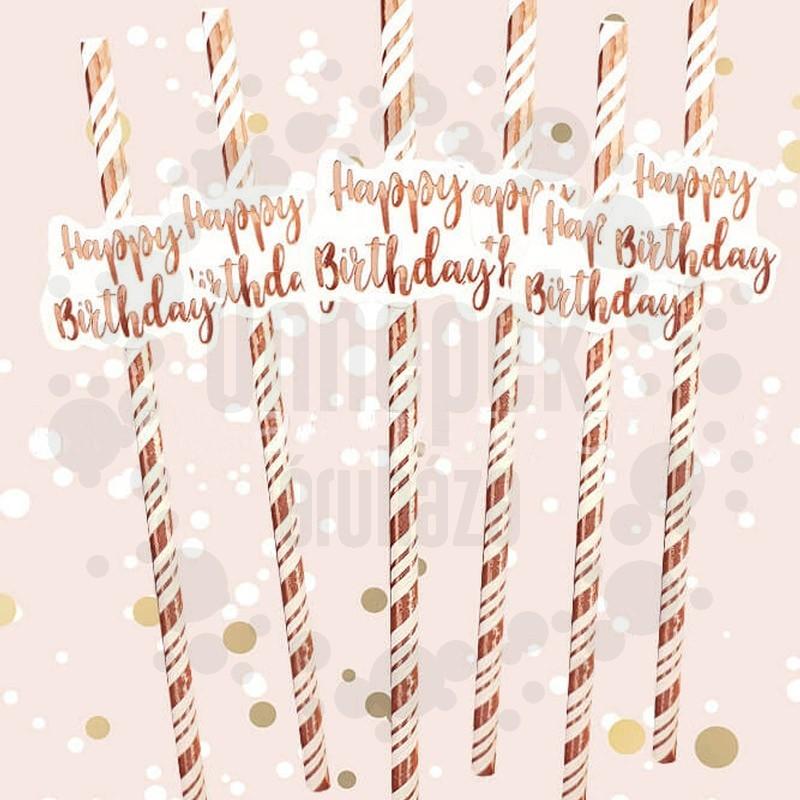 Happy Birthday Feliratú Rosegold Papír Szívószál - 6 db-os