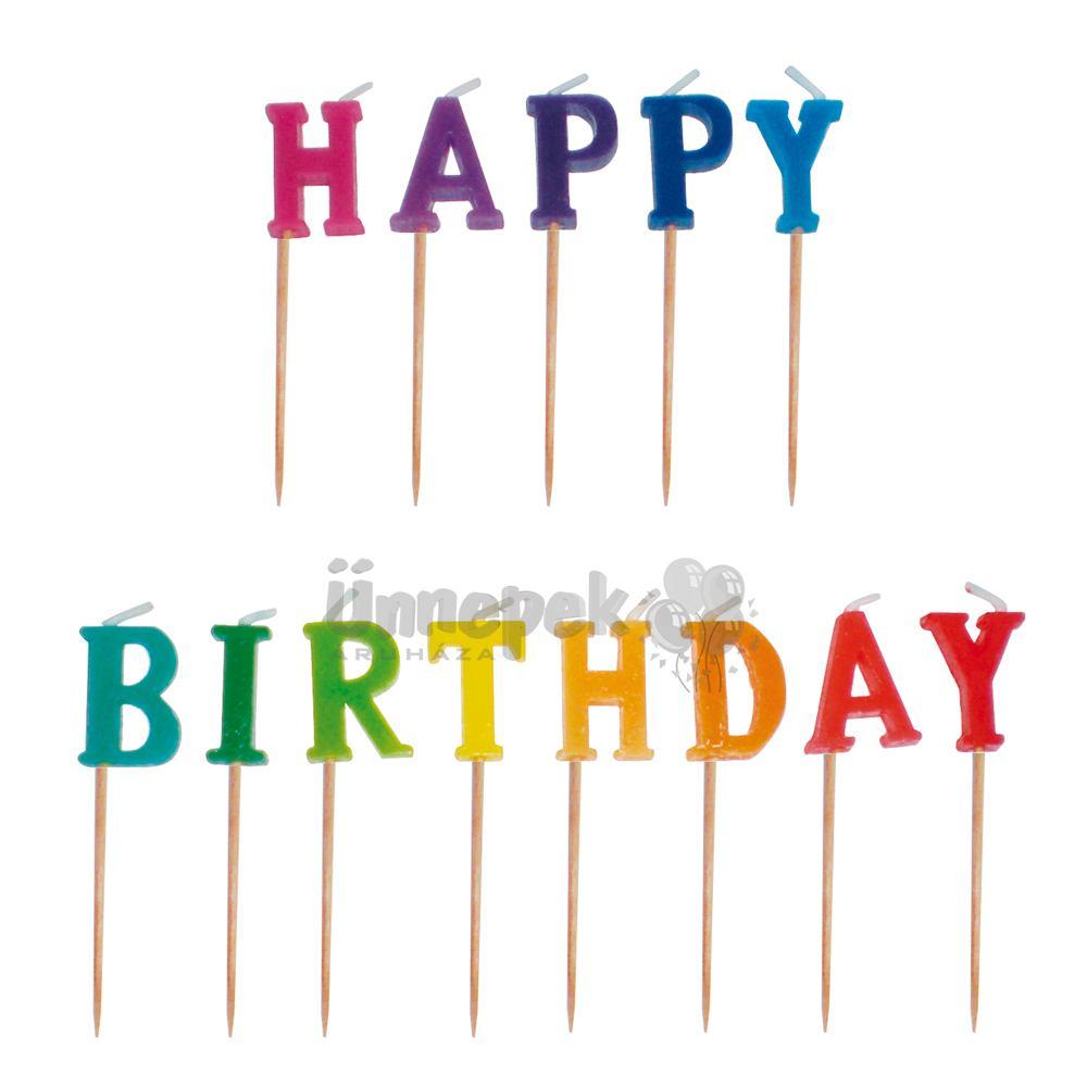 szülinapi gyertya Happy Birthday Feliratú Színes Szülinapi Parti Gyertya, 13 db szülinapi gyertya