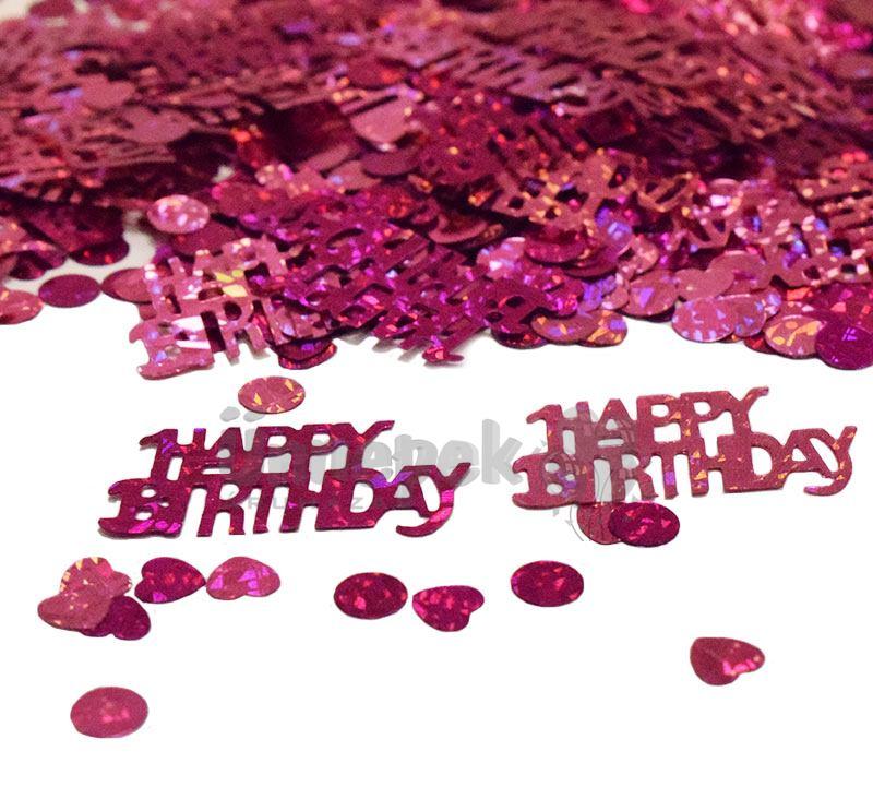 Happy Birthday Girls Pink Parti Konfetti - 15 gramm