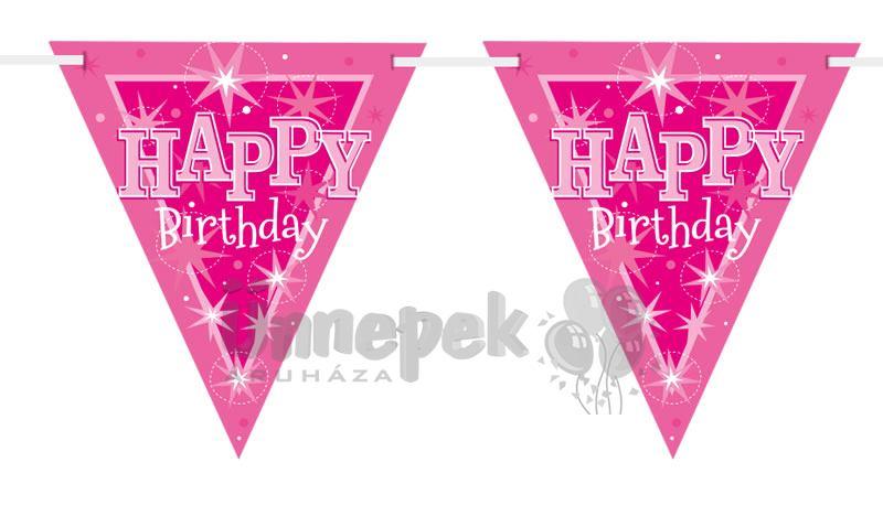 Happy Birthday Rózsaszín Sparkle Szülinapi Parti Zászlófüzér - 360 cm