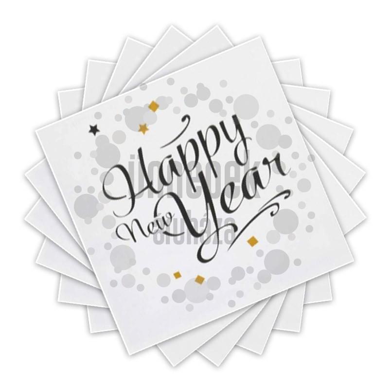Happy New Year Golden Wishes Parti Szalvéta Szilveszterre - 33 cm x 33 cm, 20 db-os