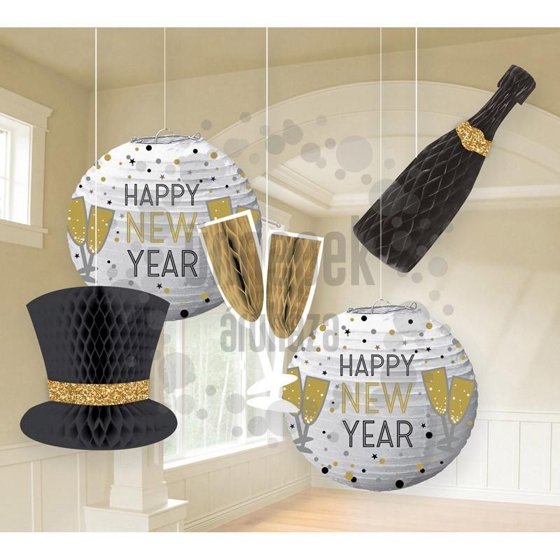 Happy New Year Szilveszteri Méhsejt Függő Dekorációs Szett, 5 db-os