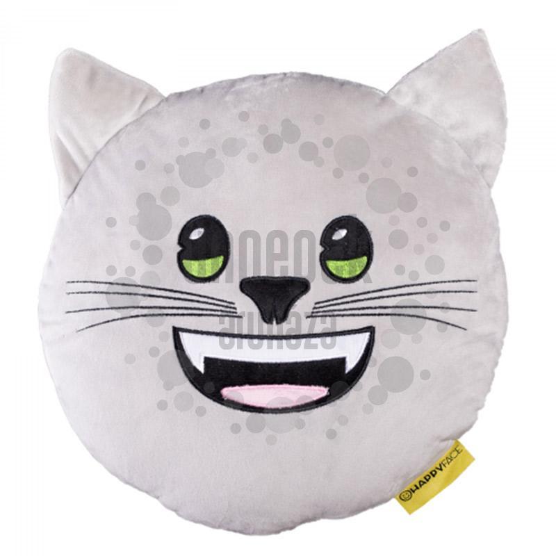 HappyFace Emoji Párna Cica - 30 cm