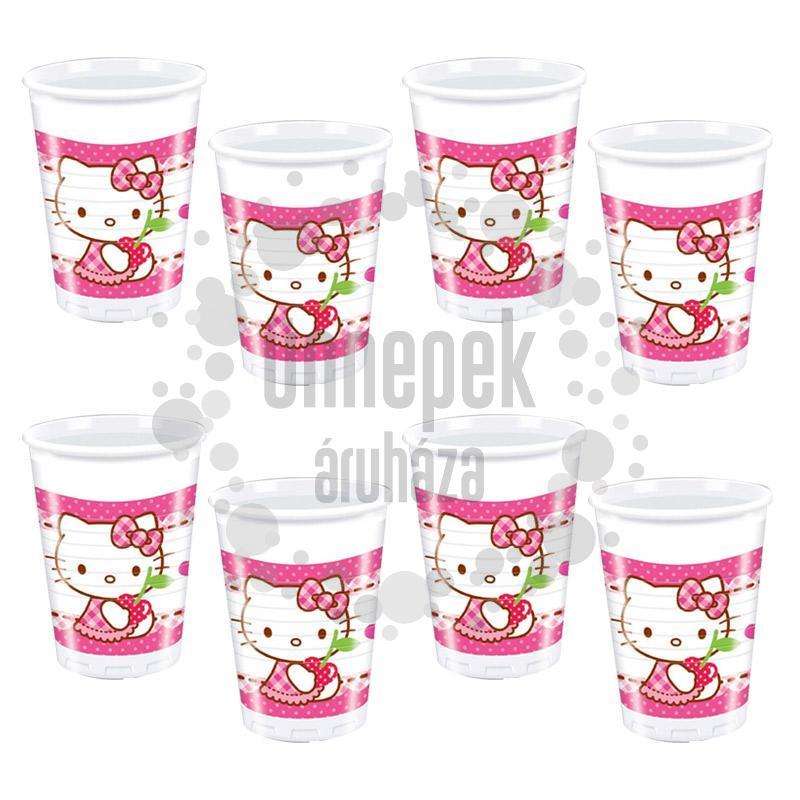 Hello Kitty Hearts - Szíves Parti Pohár - 200 ml, 8 db-os