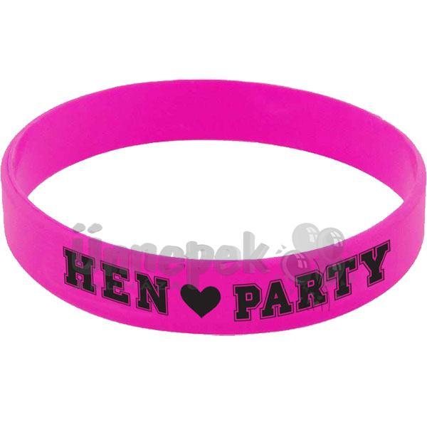 f8e8d8efc Rózsaszín Gumi Karkötő Szett Lánybúcsúra - Hen Party Felirattal, 6 db