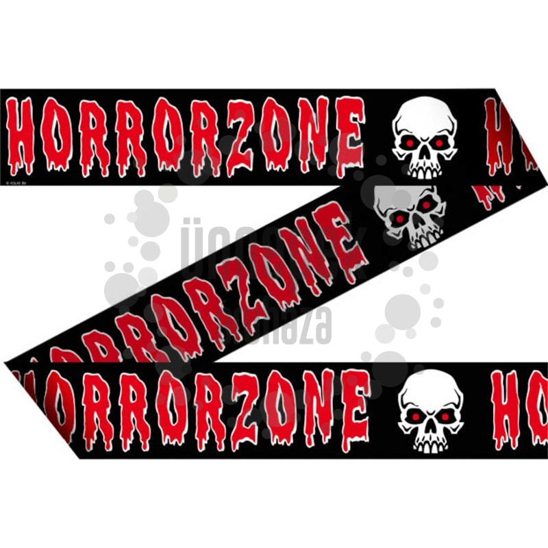 Horror Zone Feliratú Koponya Mintás Kordonszalag Halloween-re, 15 m-es