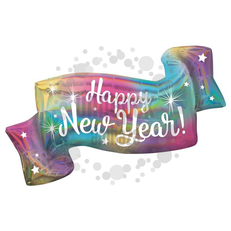 Irizáló Színes Happy New Year Banner Super Shape Szilveszteri Fólia Lufi