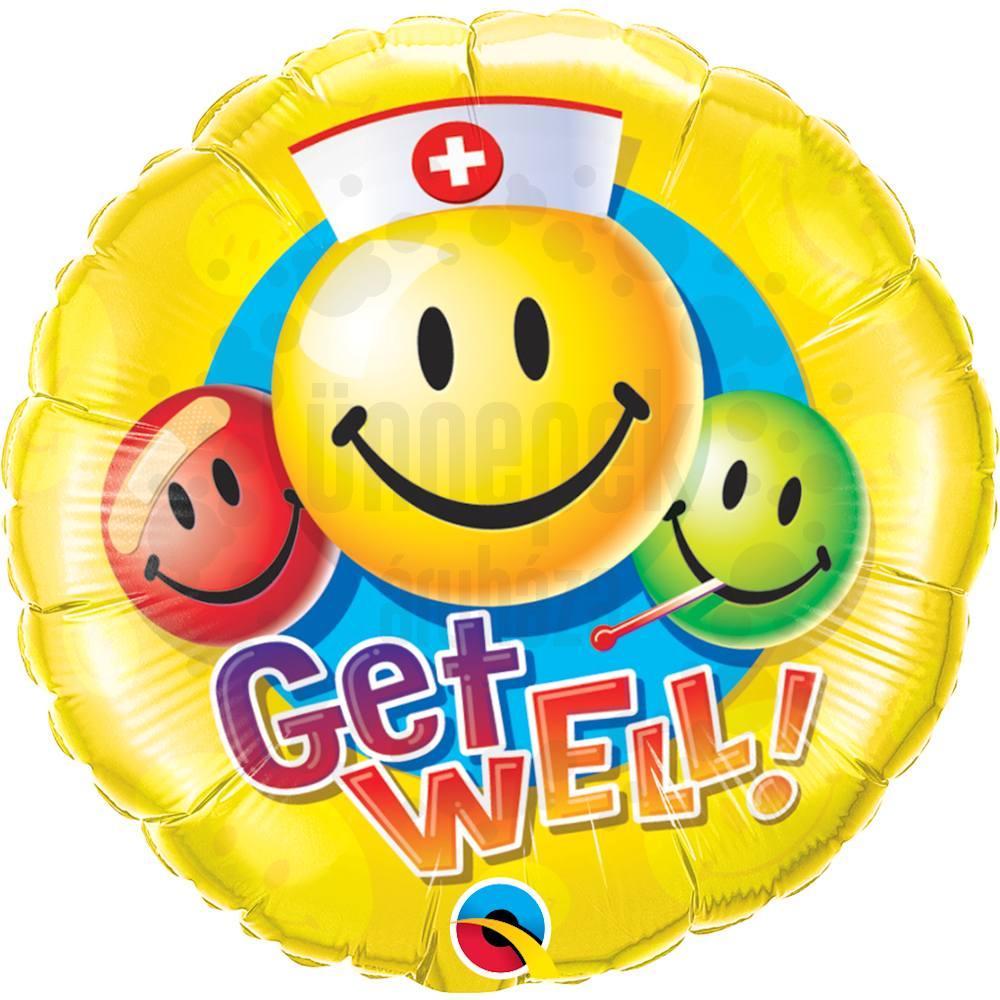 18 inch-es Jobbulást - Get Well Smile Face Héliumos Fólia Lufi