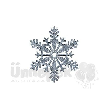 Ezüst Glitteres Hópelyhek Függő Dekoráció - 28 cm