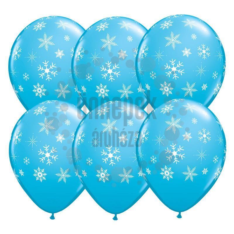 11 inch-es Snowflakes and Sparkles Hópelyhes Robins Egg Blue Lufi (25 db/csomag)