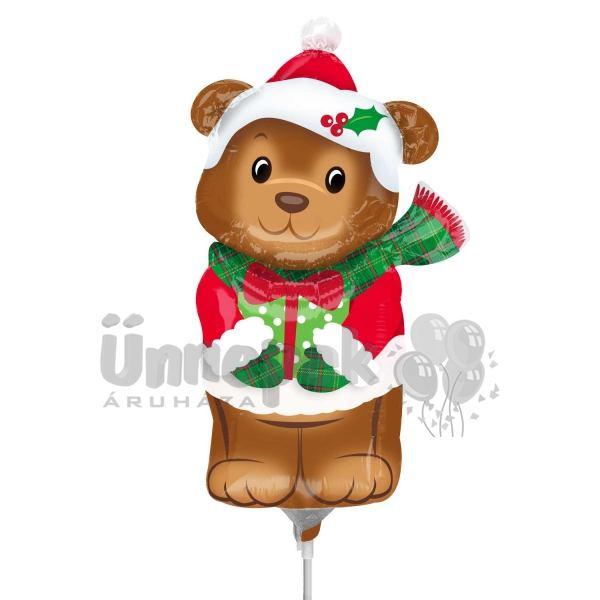 Karácsonyi Maci - Christmas Bear - Mini Shape Fólia Lufi Pálcán