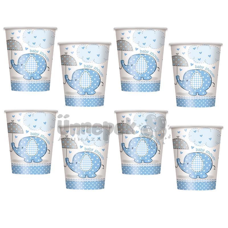 Kék Baby Shower - Bébielefánt Mintás Parti Pohár Babaszületésre - 270 ml, 8 db-os