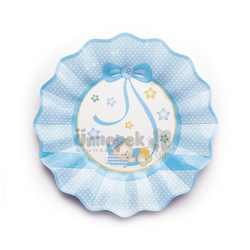 Kék Macis Csillagos-Pöttyös Bébi Parti Tányér - 8 db-os, 21 cm