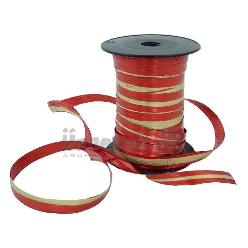 Kétszínű (Piros - Arany) Metál Fényes Díszítő Fólia Szalag - 50 m