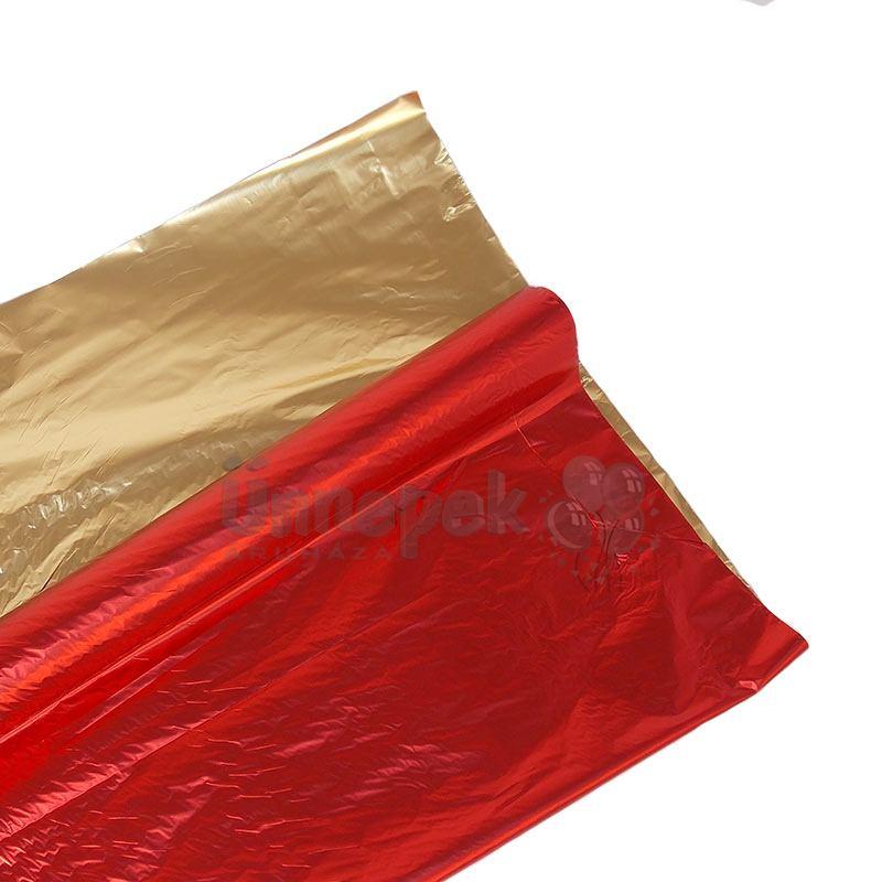 Kétszínű (Piros - Arany) Metál Fényes Fólia Csomagoló - 1 m x 20 m 1d5c1d725d